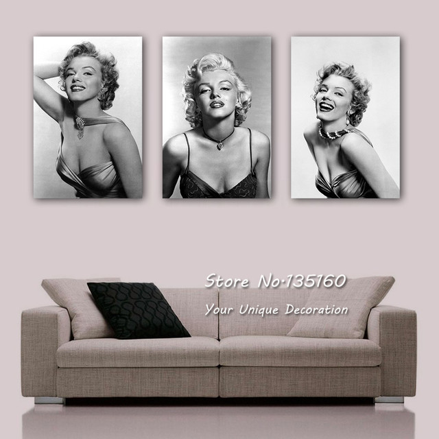 buy vintage marilyn monroe canvas art black white oil canvas paintings printed. Black Bedroom Furniture Sets. Home Design Ideas