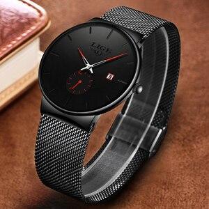 Image 4 - 2019 LIGE męskie zegarki Top marka luksusowa moda zegarek na rękę dla mężczyzn zegar kwarcowy zegar mężczyzna Ultra cienka siatka pasek wodoodporny + pudełko