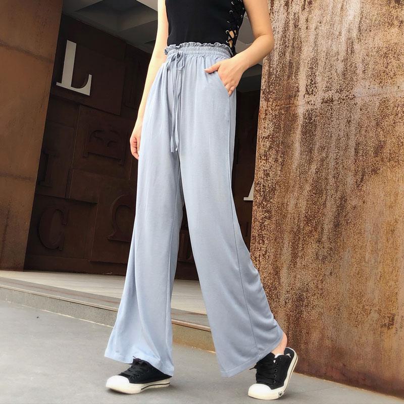 Fashion Summer Thin High Waist Drape Casual   Pants   Plus Size Women Linen Solid Color Loose Trousers Straight   Wide     Leg     Pants