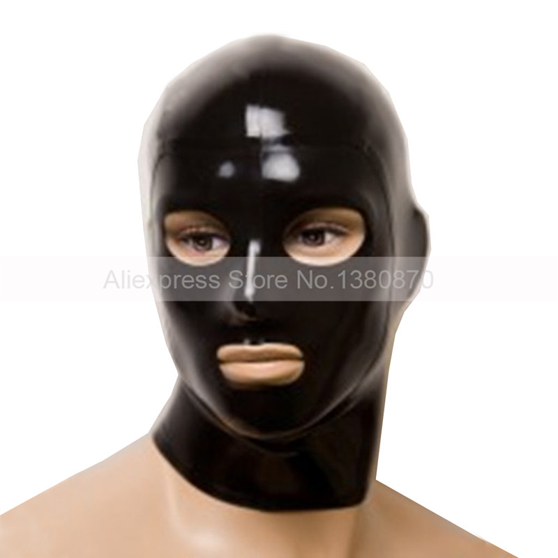 Mans Latex Hood Unisex Sexig Solid Svart Gummi Latex Mask med Eyes Mouth Näsborrar Öppna S-LM075