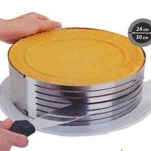 DIY Einstellbare Retractable Kreisring 24-30 cm Edelstahl Kuchen Geschichteten Slicer Backen Tool Kit Set Mousse Form schneiden