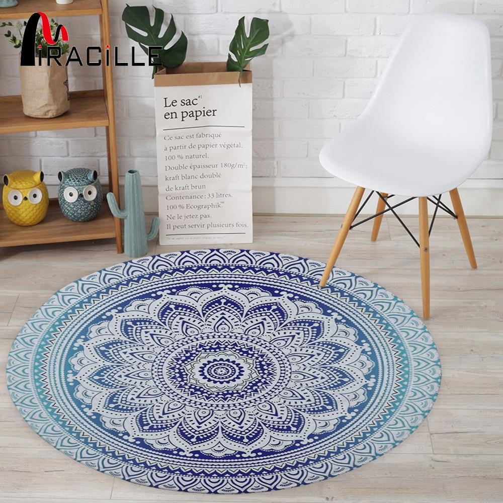 Miracille Bohemian Style Mandala Pattern Round Carpet Non-Slip Bath Mat Soft Fluffy Coral Velvet Area Rug For Living Room Decor
