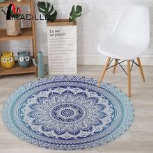 Miracille Bohemian Style Mandala Pattern Round Carpet Non-Slip Bath Mat Soft Fluffy Coral Velvet Area Rug for Living Room Decor bohemian floral antiskid bath rug