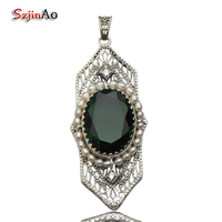 Szjinao European Royal Classic New Ancient Natural Pearl Pendant Ancient 925 Sterling Silver Green Emerald Pendant