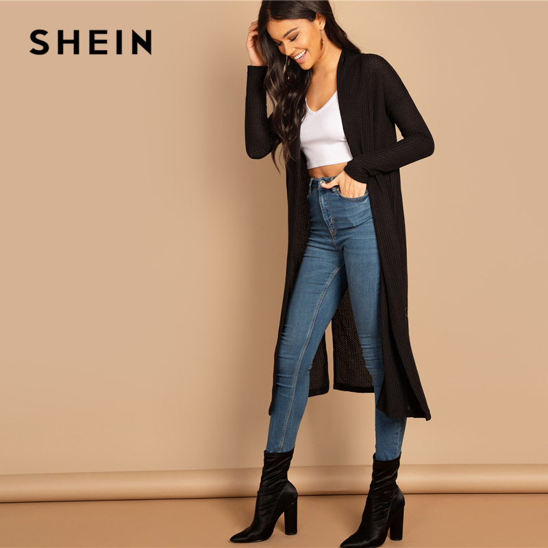 SHEIN Black Split Side Longline Plain Long Sleeve Cardigan Outerwear Coat Women's Shein Collection
