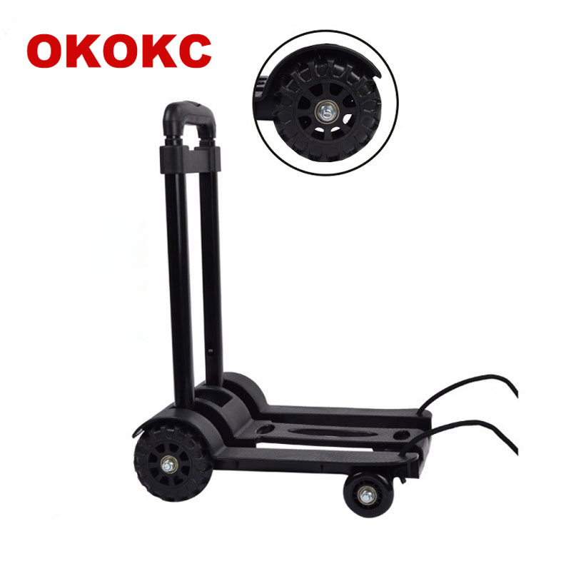 OKOKC Tank Four Rounds Portable Luggage Carts Home Shopping Cart Trolley Car Folding Cart Trailer Handcart