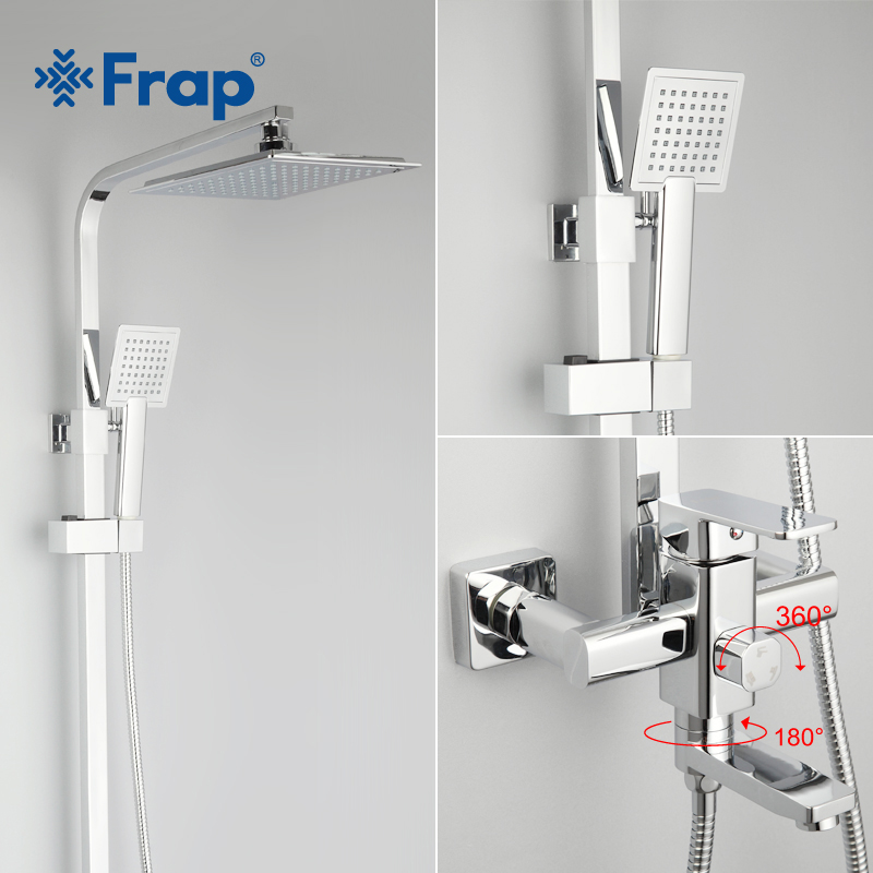 Frap 1 Set Bathroom Rainfall Shower Faucet Set Single Handle Mixer Tap With Hand Sprayer Wall