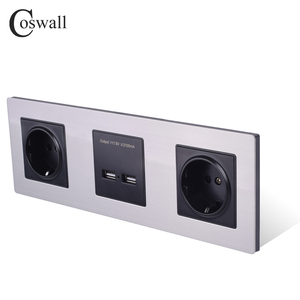 Image 2 - COSWALL Wall Stainless Steel Panel Double Socket 16A EU Electrical Outlet Dual USB Smart Charging Port 5V 2A Output Black Color