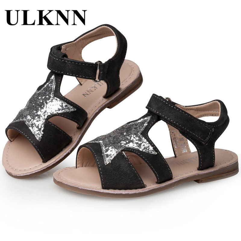 ULKNN Girls Sandals Children Shoes Glitter Star Candy Color White Open toe  Sandals For School Female Kids Flat Leather Shoes-in Sandals from Mother    Kids ... 65cccfd3a745