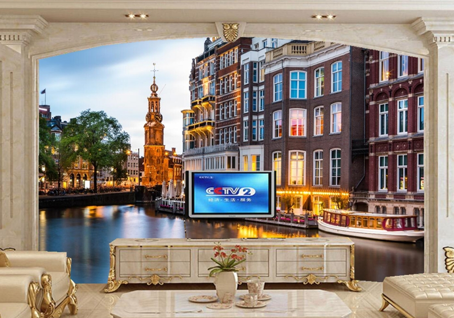 papel de parede Amsterdam houses river city building 3d wallpaper ...