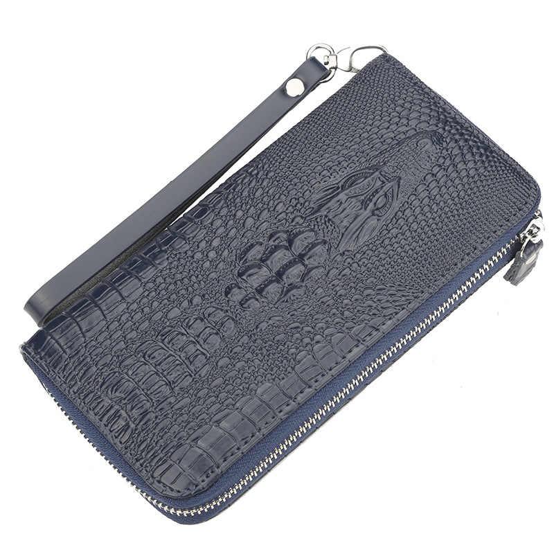 Классический Аллигатор Стиль Для мужчин длинный кошелек Largr Ёмкость клатч кошельки для кредитных держатель для карт органайзер для женщин carteira Кошелек сумка