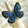 Gorgeous Butterfly Ring 5 Colors for Choice Rhinestones Colorful Big Opening Rings for Women RJ15610