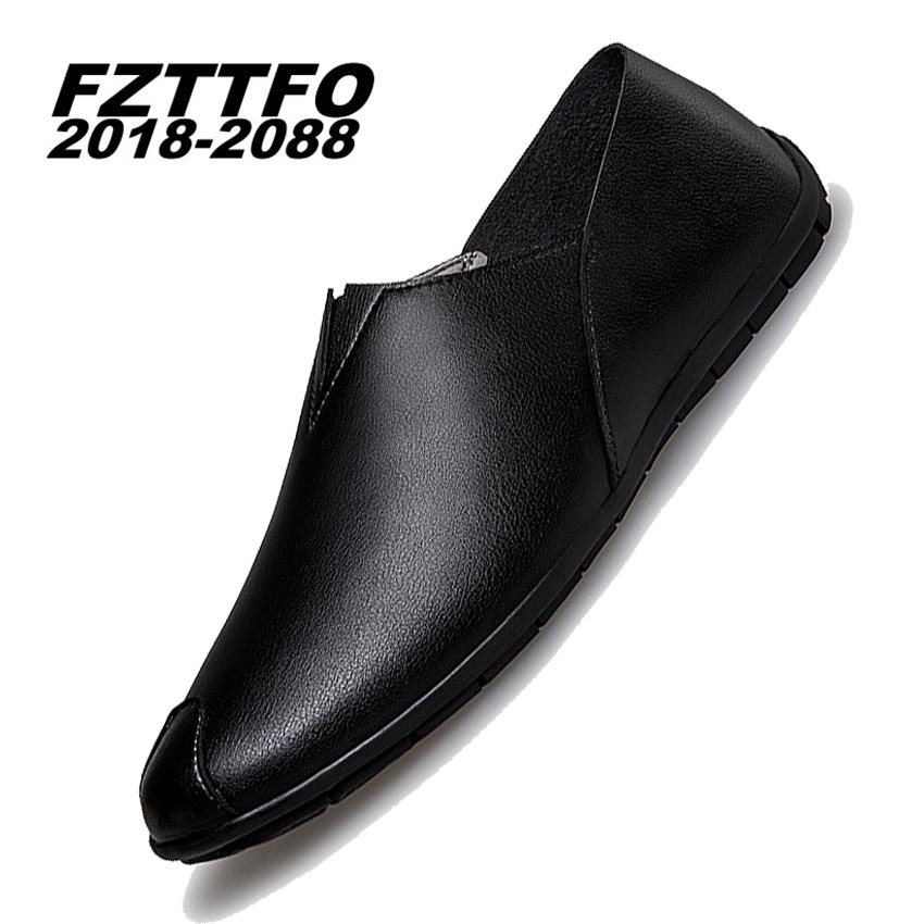 Size 37-44 Men's Leather Driving Shoes,FZTTFO 2018-2088 Brand Slip On Casual Shoes,Brand Design Loafers For Men K480 desai brand italian style full grain leather crocodile design men loafers comfortable slip on moccasin driving shoes size 38 43