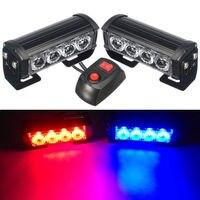 CYAN SOIL BAY 2x4 LED Emergency Car Truck Strobe Flash Light 12V Warning Dash Bar Red&Blue