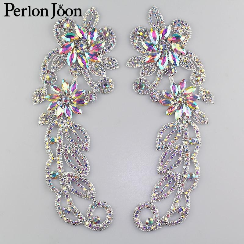1 Pair Of Rhinestones Epaulette Decoration Applique Crystal Glass Patch AB Rhinestone Decoration Clothing Accessories