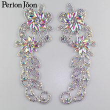 1 pair of rhinestones epaulette decoration applique crystal glass patch AB rhinestone clothing accessories