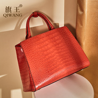 Qiwang Classical Leather Women Handbag Brand Designer Tote Bag Brand Bags Crocodile Pattern Evening Package Female briefcase