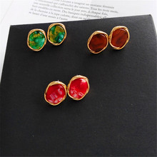 Fashion temperament contracted earrings ears female irregular pattern resin restoring ancient ways Delicate