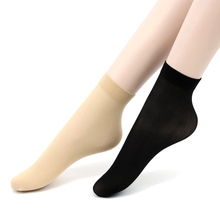 10 Pieces 5 pairs Summer bamboo female Short Socks Flesh Ultra-thin Crystal Transparent Silk Breathable black Female