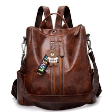 2019 Vintage Women Backpack High Quality Youth Leather Backp