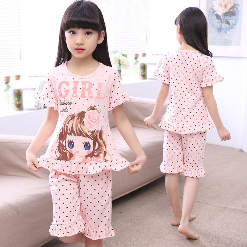 2020 Summer New Kids Pajamas Suit 100% Cotton Comfortable Homewear Polka Dot Nightwear Cartoon Cute Home Clothes Little Girl image