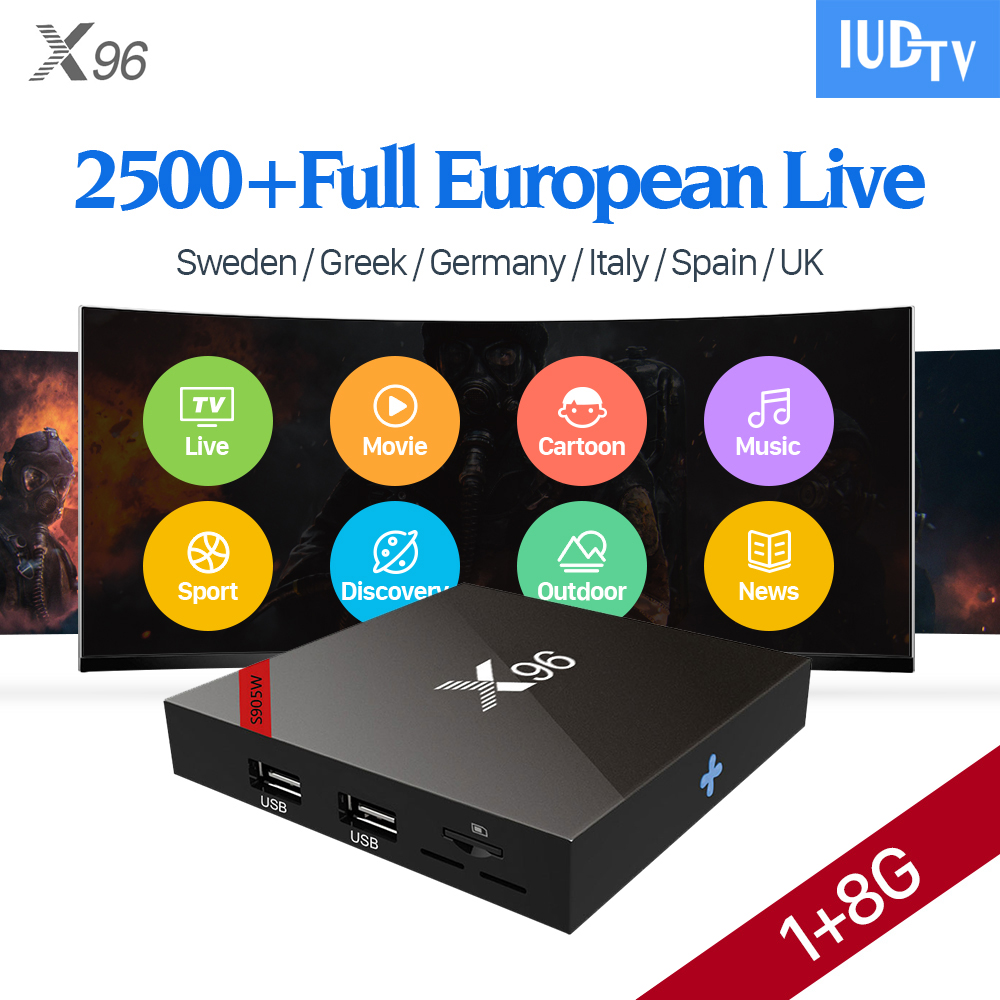 IPTV Europe IUDTV Subscription 1 Year 2500+ Arabic French Spain Italia Turkish UK IPTV Channels X96W Smart TV Box Android 7.1