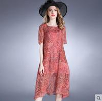 Новое летнее платье Для женщин шифоновое платье розовый кружевной высокое качество ткани женщина Костюмы Лидер продаж Бесплатная доставка