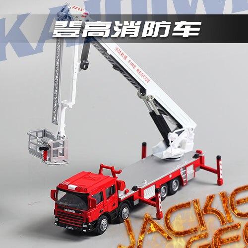 Créatif 1 pc 1:50 16.5 cm Cadeve montée haute pompier camion simulation modèle en alliage voiture décoration de la maison enfants cadeau jouet