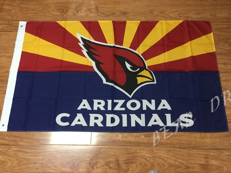NFL Arizona Cardinals Flag 3ft x 5ft Polyester Banner 90x150cm white sleeve with 2 Metal Grommets