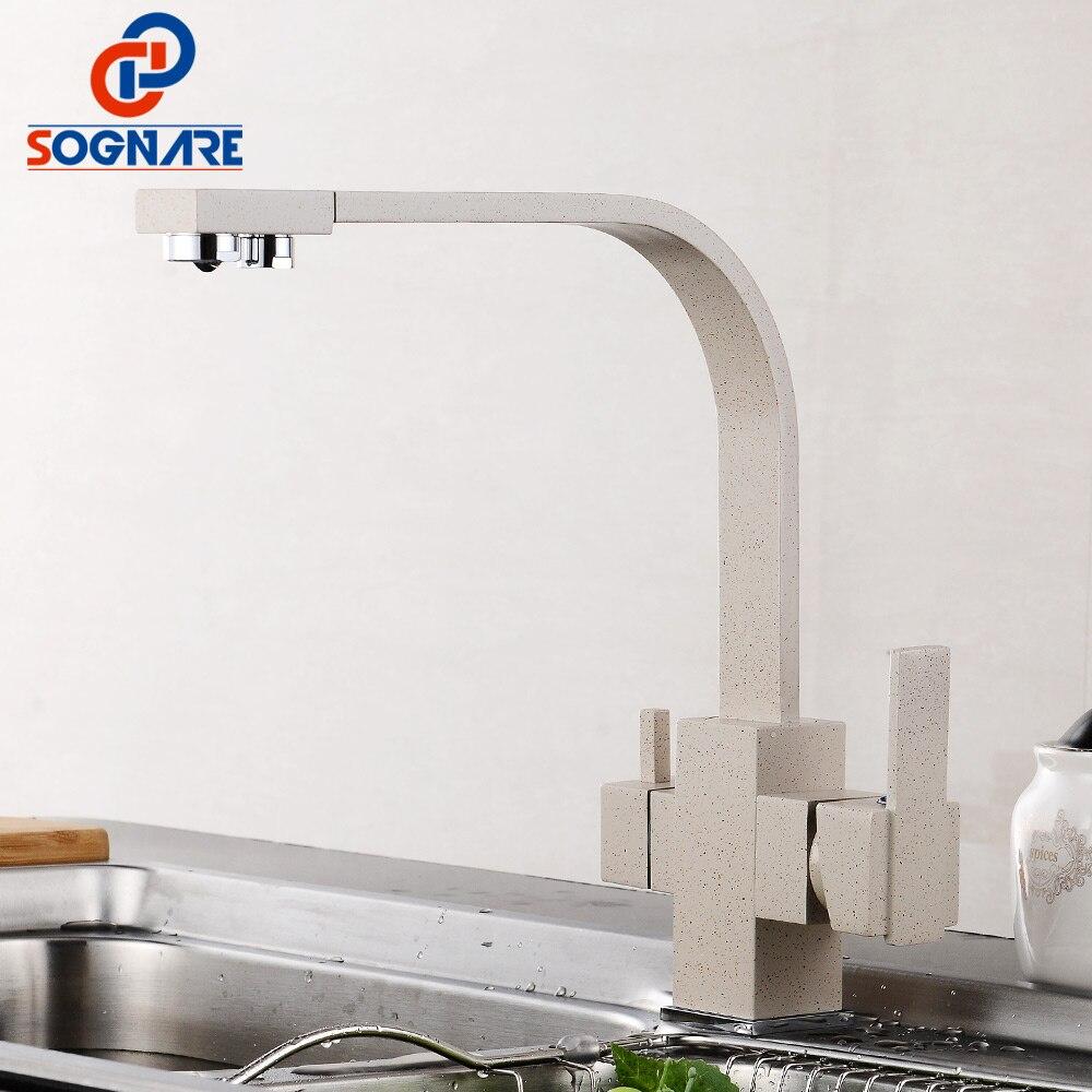 SOGNARE Solide Messing Küche Wasserhahn mit Gefiltertes Wasser Marmor Küche mischer Für Waschbecken Wasserhähne Kalt Heißer Swivel Trinkwasser Wasserhahn