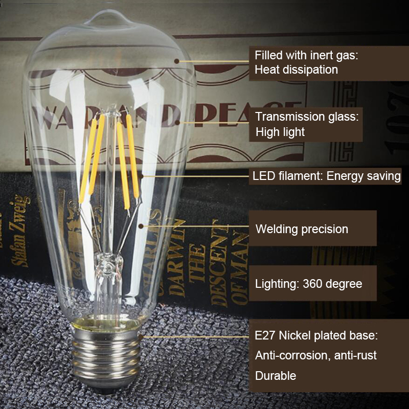 Купить с кэшбэком LED Bulb ST64 Filament Lamp Edison Shape Vintage Pendant Light 220V 2W 4W 6W 8W Retro Decor for Home Loft Club Study Studio