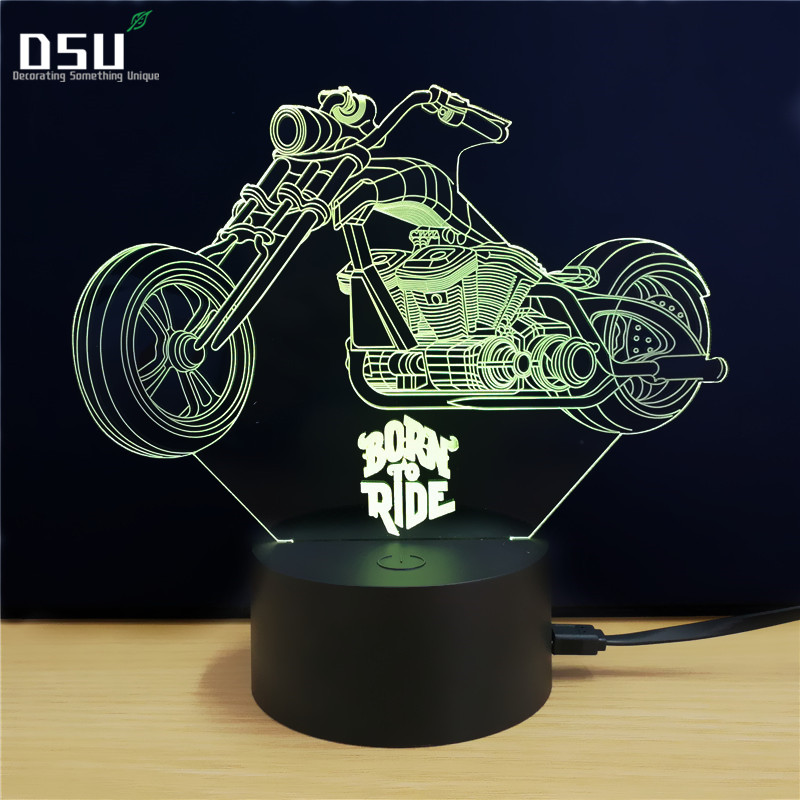 3D Lamp Motorcycle Shape Night Light Night Lamp Desk Table Light 7 Color Changing Touch Control Gift for Christmas Birthday Vale