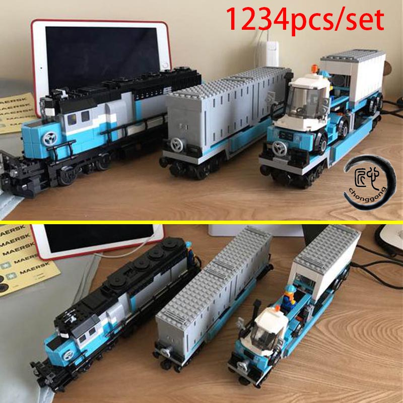 New Technic Series Maersk Train Set The fit 10219 Train Set Building Blocks Bricks Educational Kid Toys Gifts image