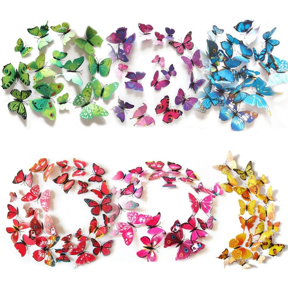 3D DIY Mariposas Imán DEL PVC DIY Pegatinas de Pared Para la Habitación de Los N