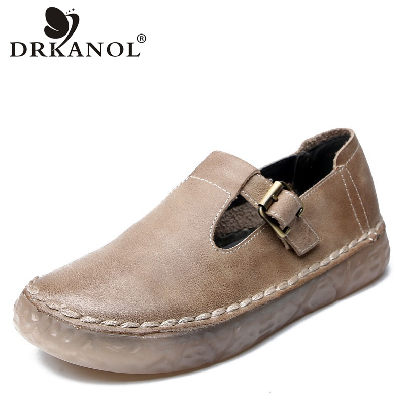 DRKANOL 2020 New Genuine Leather Oxford Shoes For Women Flat Shoes Chaussures Femme Retro Handmade Slip On Casual Shoes Women