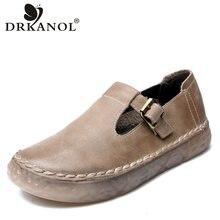 DRKANOL 2021 Neue Echtem Leder Oxford Schuhe Für Frauen Flache Schuhe Chaussures Femme Retro Handgemachte Slip Auf Casual Schuhe Frauen