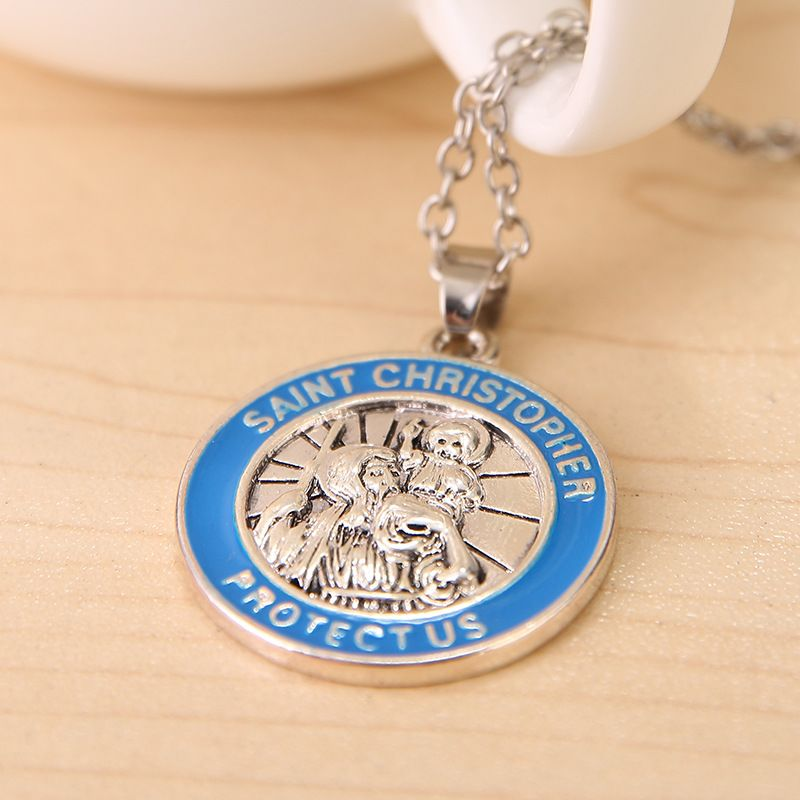 New arrival vintage greek mythical figures saint christopher protect new arrival vintage greek mythical figures saint christopher protect us pendant necklace for men and women wholesale in pendant necklaces from jewelry mozeypictures Gallery