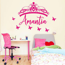 цена на Custom Girls Name Butterfly Crown Wall Sticker Vinyl Art Home Decoration Girls Room Nursery Catoon Decals Personalized Name 3612