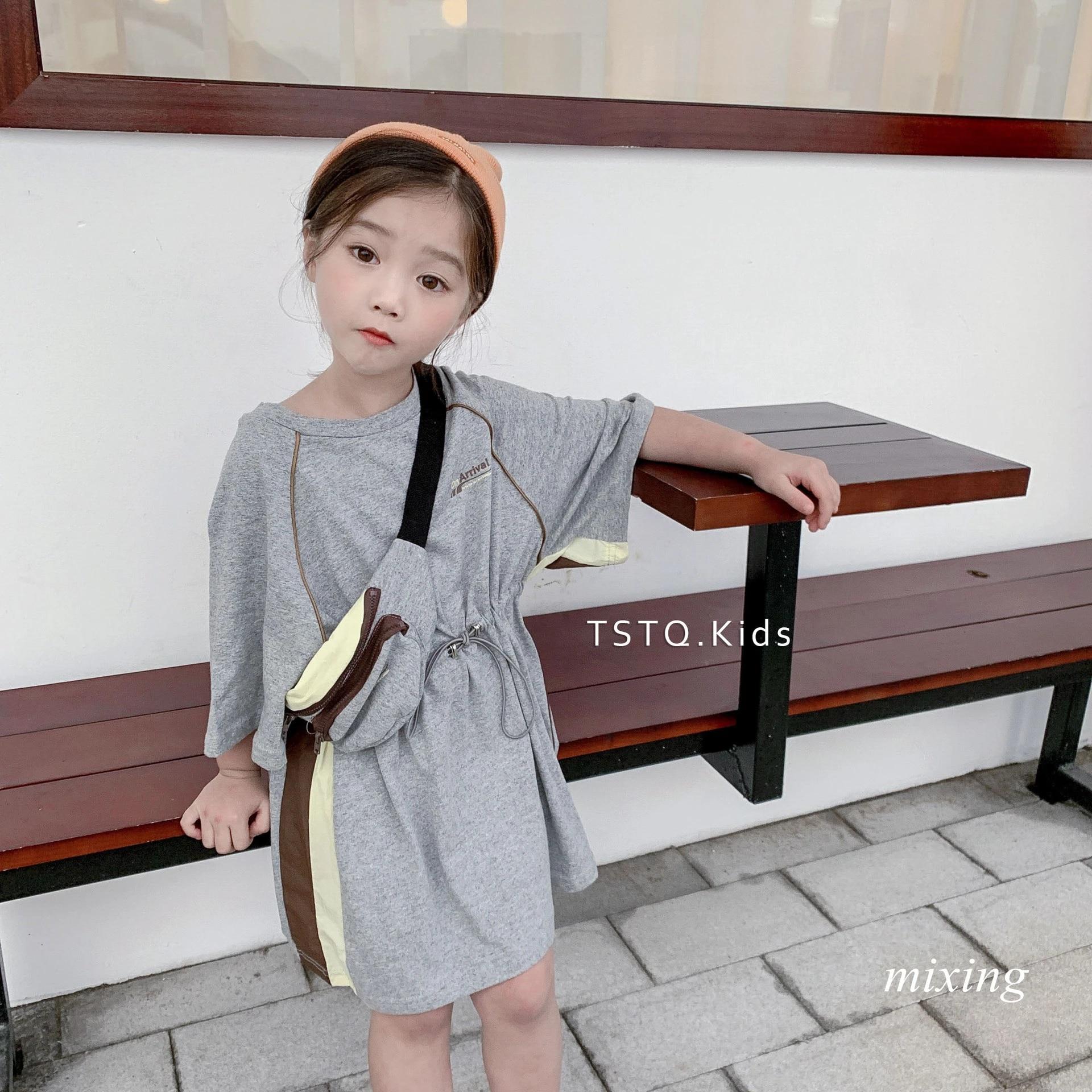 Korean summer dress girls long T shirt 6 summer new girls