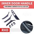 4/кисточки  набор из 7 шт правый руль RHD для BMW 5 серия F10 F11 520 525 красный винные  серые салона автомобиля Дверная ручка внутренняя Панель тянуть ...