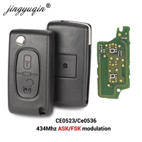 Jingyuqin 434Mhz ASK FSK 2 버튼 시트로엥 C2 C3 C4 C5 C6 C8 Xsara 피카소 CE0523 Ce0536 VA2/HCA 블레이드 용 원격 플립 키 Fob