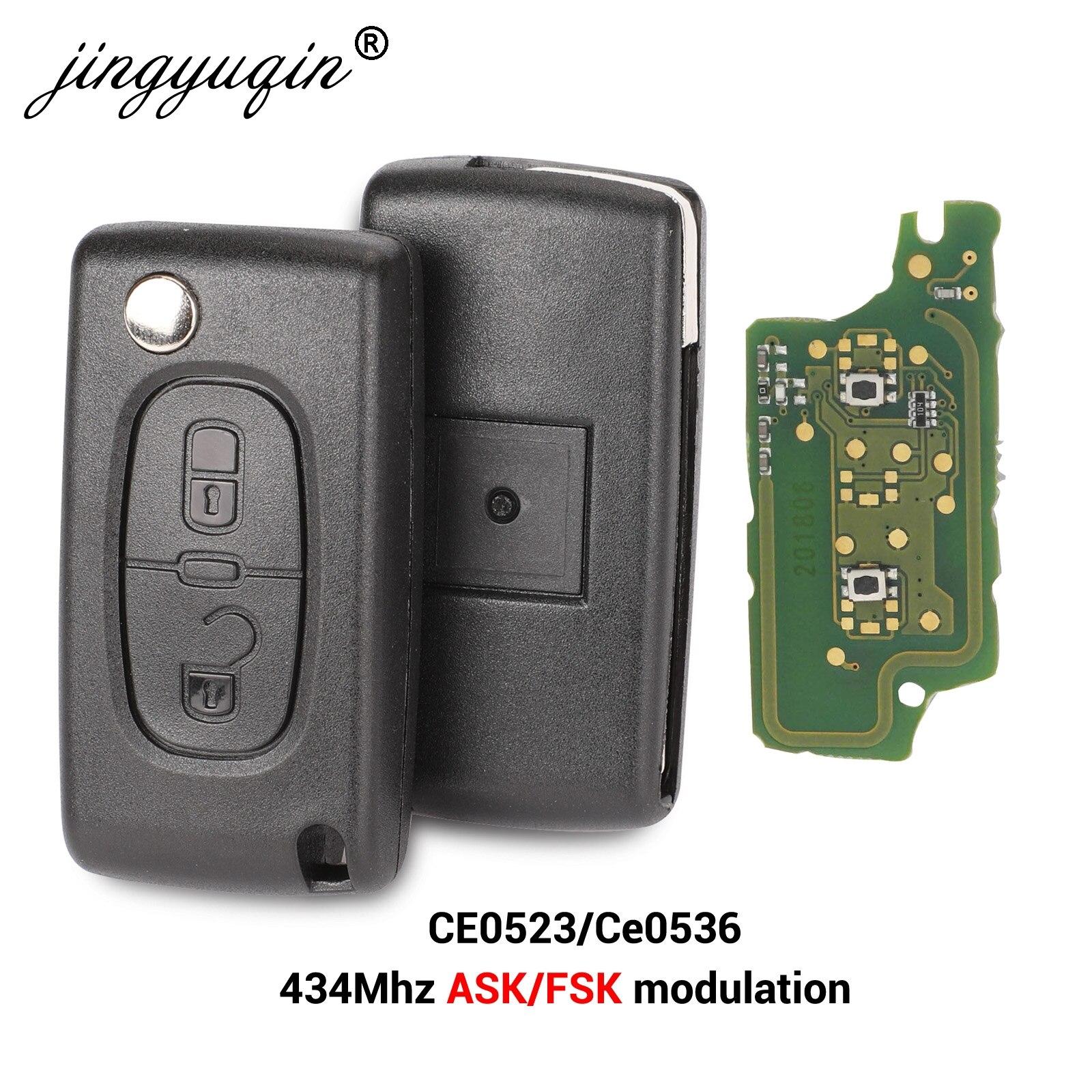 Пульт дистанционного управления jingyuqin 434 МГц ASK FSK, 2 кнопки, брелок для Citroen C2 C3 C4 C5 C6 C8 Xsara Picasso CE0523 Ce0536 VA2/HCA Blade
