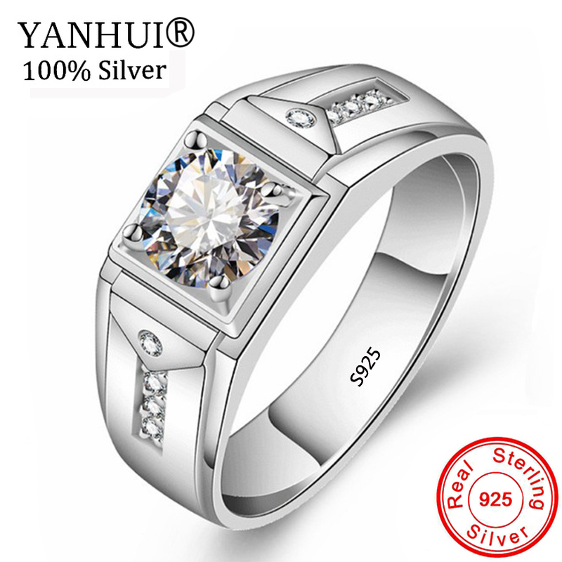 Yanhui Original 925 Sterling Silver Wedding Rings For Men 1ct Cz Zircon Jewelry Big Width Men Engagement Rings Male Gift Rg84 Buy At The Price Of 9 95 In Aliexpress Com Imall Com