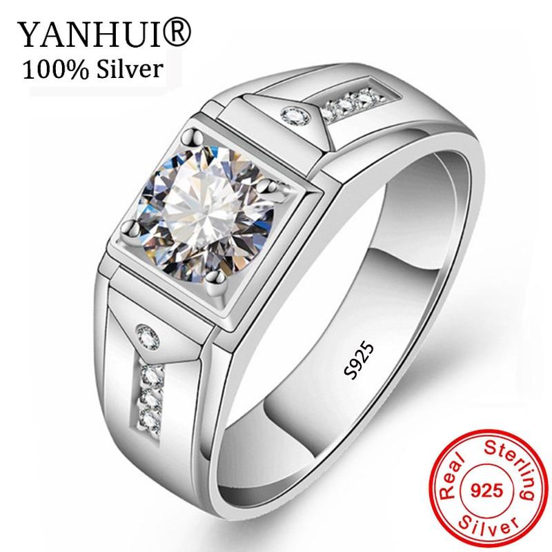 Yanhui Original 925 Sterling Silver Wedding Rings For Men 1ct Cz
