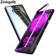 Для samsung Galaxy Note 9 чехол Роскошный Жесткий магнитный металлический каркас прозрачный стеклянный противоударный чехол для телефона Note 9 чехол