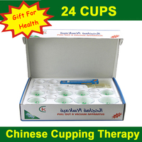 English verson! 24 cup tanks Chinese medical vacuum cupping sets magnetic hijama therapy body relax massager for health care