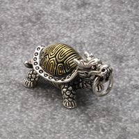 Men's Fashion Sterling Silver Charms Vintage Animal Dragon Turtle Metal Pendant Jewelry 925 Sterling Silver Pendant Hot Sell