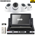 Built 2TB HDD 4pcs HD 720P AHD CCTV Cameras 4CH 7'' LCD Screen DVR AVR NVR Video Surveillance System Kits Mobile Phone CCTV 4CH