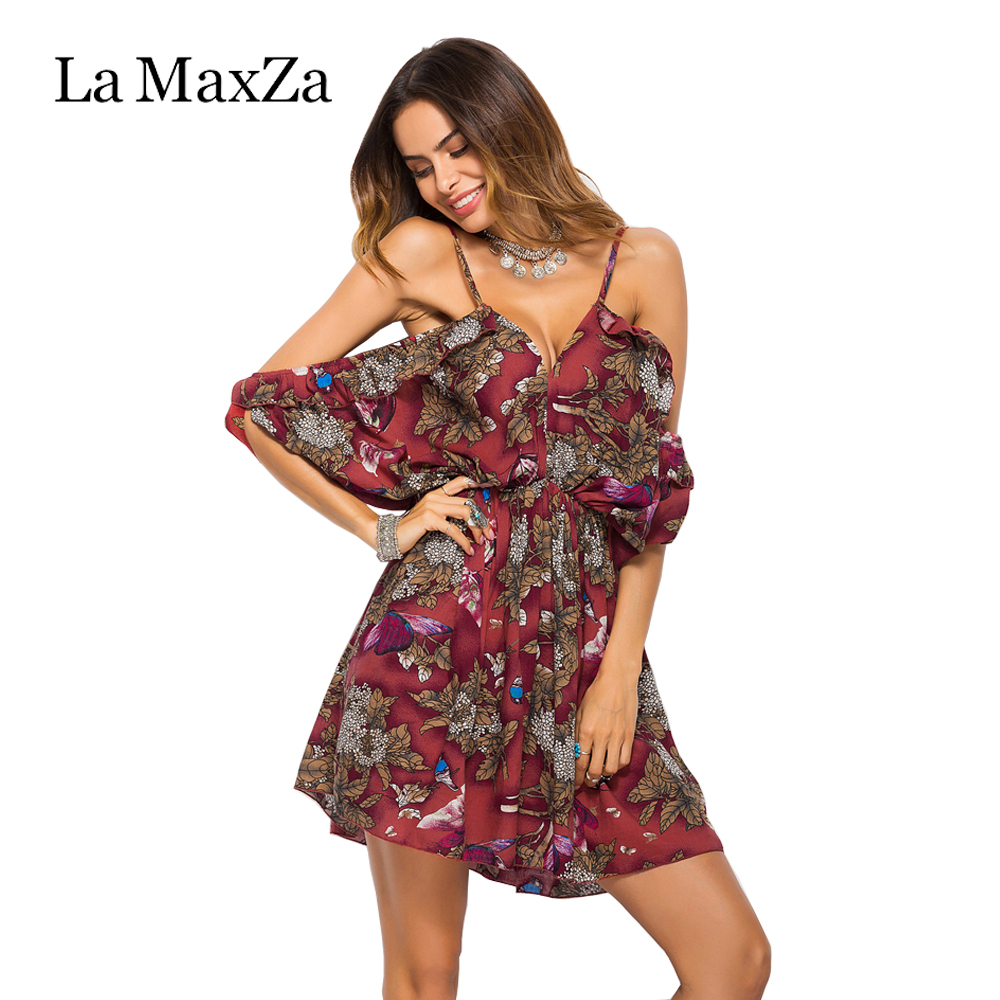 La MaxZa Summer New Style Fashion Clothing Sexy Beach Sling Women Dress Strapless Vintage Print Elegant Design Female Vestidos