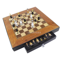 3in1 Three Gameplay Wooden International Chess Set Board Drawer Design Travel Portable Morris Checkers Educational Game Play Kit
